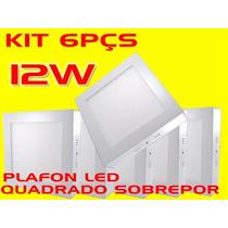 Kit 6pçs Plafon Led Cuadrado Sobreponer 12w Bco Frío Bi-volt