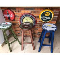 Butacas Cerveceras, Madera Maciza, Pintadas 70 Cms De Altur