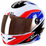 Casco Moto 4 Racing + Visera Cromada Extra Rojo Azul 56 P