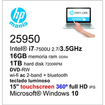 Notebook I7-7500u 2.7/16gb/1tb/dvd/wifi/15 Touch 360º